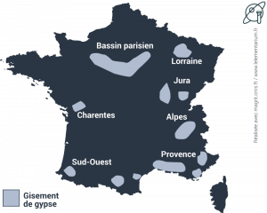 Carte de France, des principaux sites de gypse en France